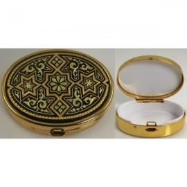 Damascene Gold Star Oval Pill Box