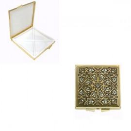 Damascene Gold Geometric Square Pill Box