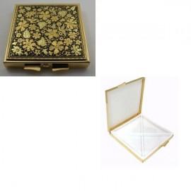 Damascene Gold Flower Square Pill Box