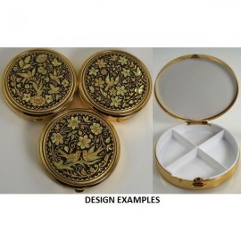Damascene Gold Bird Round Pill Box Style 8531