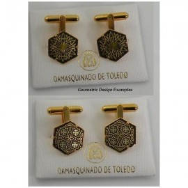Damascene Gold Mens Cufflinks Hexagon Geometric