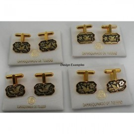Damascene Gold Mens Cufflinks Rectangle Bird