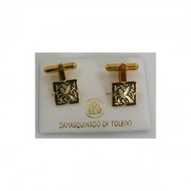 Damascene Gold Mens Cufflinks Square Bird
