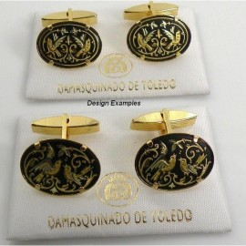 Damascene Gold Mens Bird Oval Cufflinks