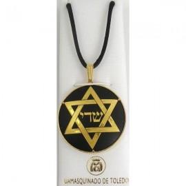 Damascene Gold Star of David Round Pendant