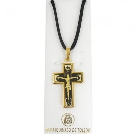 Damascene Gold Cross Thorn Pendant style 8230