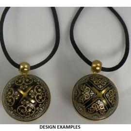 Damascene Gold Geometric Sphere Angel Caller Pendant
