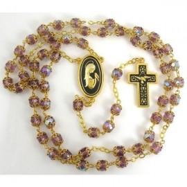 Damascene Gold Dove Rosary Purple Beads
