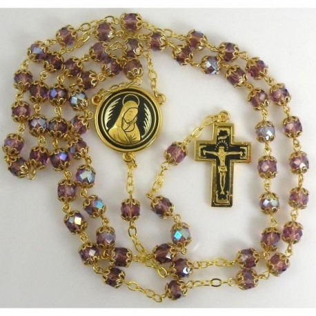 Damascene Gold Jesus Rosary Purple Beads