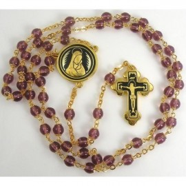 Damascene Gold Jesus Communion Rosary Purple Beads