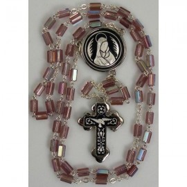 Damascene Silver Dove Rosary Purple Beads