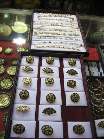 Damascene Jewelry collection oin a store in Toledo Spain