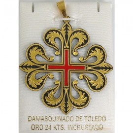 Damascene Templar Knight Caltrava Cross Pendant