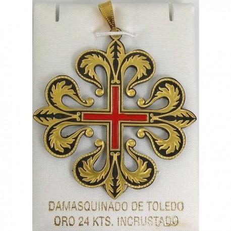 Damascene Templar Knight Caltrava Cross Pendant