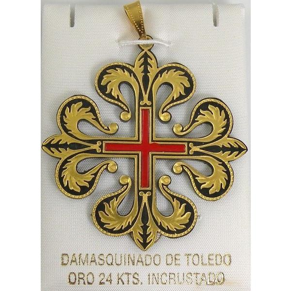 Damascene templar knight caltrava cross pendant aloadofball Image collections