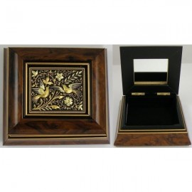Damascene Gold Bird Wooden Jewelry Box