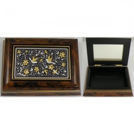 Damascene Gold and Silver Bird Wooden Jewelry Box