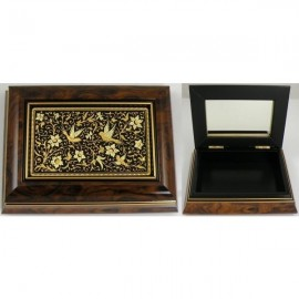 Damascene Gold Wooden Jewelry Box MI7002BIRD