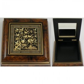 Damascene Gold Wooden Jewelry Box MI7003BIRD
