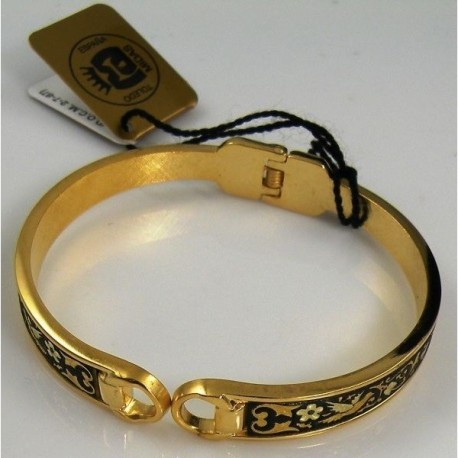 Damascene Gold Bird Bangle Bracelet Oval