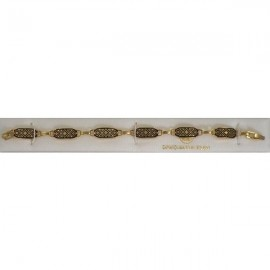 Damascene Gold Geometric Link Bracelet Rectangle