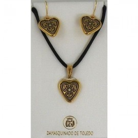 Damascene Gold Geometric Heart Necklace and Earrings style 8405