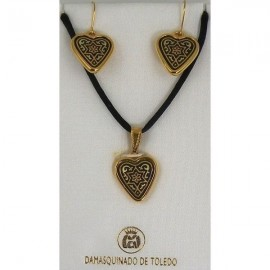 Damascene Gold Star of David Heart Necklace and Earrings style 8405