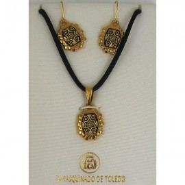 Damascene Gold Star of David Rectangle Necklace and Earrings style 8403