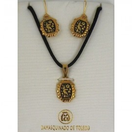 Damascene Gold Bird Rectangle Necklace and Earrings style 8403