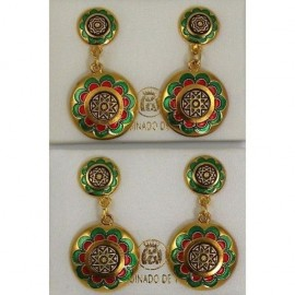 Damascene Gold with Red and Green Enamel Star Earrings