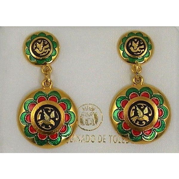 Gold with Red and Green Enamel Bird Earrings