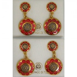 Damascene Gold and Red Enamel Star of David Earrings style 8121