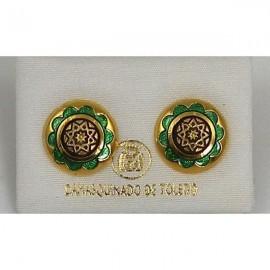 Damascene Gold and Green Enamel Star Earrings style 8119-1
