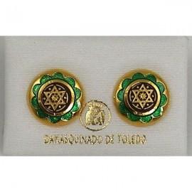 Damascene Gold and Green Enamel Star of David Earrings style 8119-1