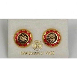 Damascene Gold and Red Enamel Star of David Earrings style 8119
