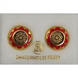 Damascene Gold and Red Enamel Star Earrings style 8119