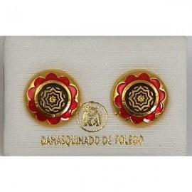 Damascene Gold and Red Enamel Geometric Earrings style 8119