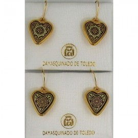 Damascene Gold Star Heart Earrings