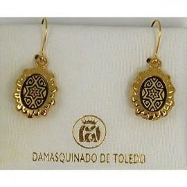 Damascene Gold Star of David Oval Earrings