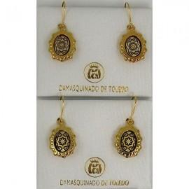 Damascene Gold Star Oval Drop Earrings