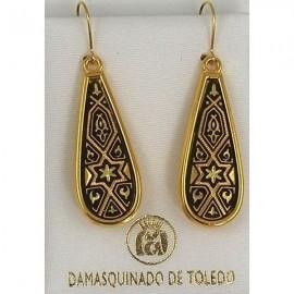 Damascene Gold Star of David Teardrop Earrings