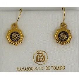 Damascene Gold Star of David Drop Earrings