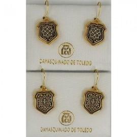 Damascene Gold Geometric Shield Earrings