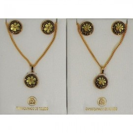 Damascene Gold Flower Earrings and Necklace Style 3433