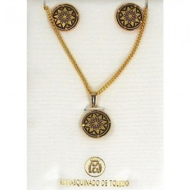 Damascene Gold Star Earrings and Necklace Style 3433