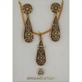 Damascene Gold Star of David Earrings and Necklace Style 3435