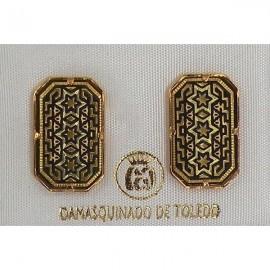 Damascene Gold Star of David Rectangle Stud Earrings