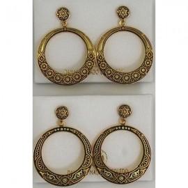 Damascene Gold Star of David Hoop Earrings