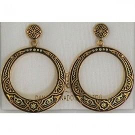 Damascene Gold Geometric Hoop Earrings