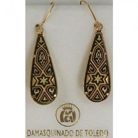 Damascene Gold Star of David Teardrop Earrings style 3104
